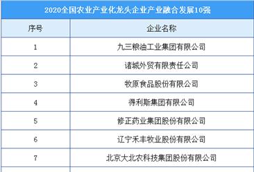 2020年全国农业产业化龙头企业产业融合发展10强排行榜