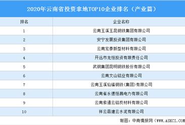 产业地产投资情报:2020年云南省投资拿地TOP10企业排名(产业篇)