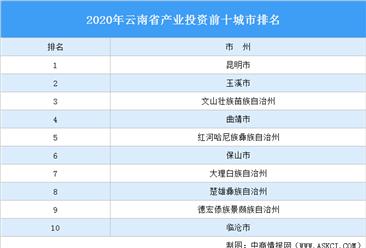 2020年云南省产业投资前十城市排名(产业篇)