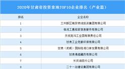 产业地产投资情报:2020年甘肃省投资拿地TOP10企业排名(产业篇)