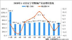 2020年12月辽宁省粗钢产量数据统计分析
