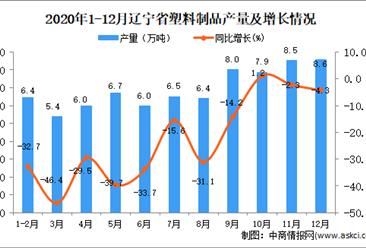 2020年12月辽宁省塑料制品产量数据统计分析