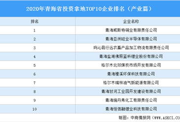 产业地产投资情报:2020年青海省投资拿地TOP10企业排名(产业篇)