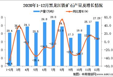 2020年12月黑龙江省铁矿石产量数据统计分析