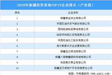 產業地產投資情報:2020年新疆投資拿地TOP10企業排名(產業篇)