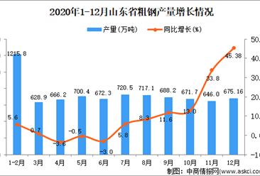2020年12月山东省粗钢产量数据统计分析