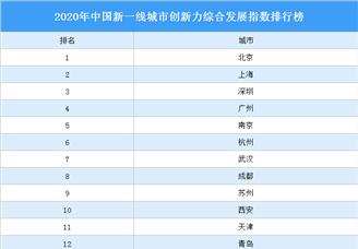 2020年中国新一线城市创新力综合发展指数排行榜