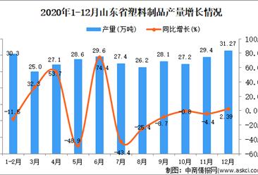 2020年12月山东省塑料制品产量数据统计分析