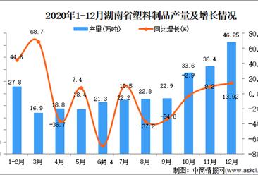 2020年12月湖南省塑料制品产量据统计分析