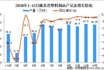 2020年12月湖北省塑料制品产量数据统计分析