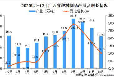 2020年12月广西壮族自治区塑料制品产量数据统计分析