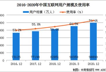 最新数据!2020年我国网民规模达9.89亿 互联网普及率超70%(图)