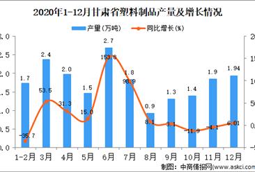 2020年12月甘肃省塑料制品产量据统计分析