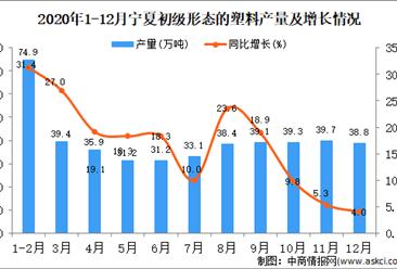 2020年12月宁夏回族自治区初级形态的塑料产量据统计分析