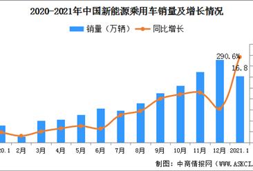 2021年1月新能源乘用车销量16.8万辆 同比劲增290.6%(附图表)