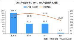 2021年1月中国乘用车产量184.8万辆 同比增长32.7%