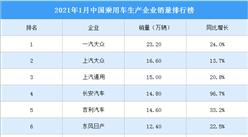 2021年1月中国乘用车企业销量排行榜