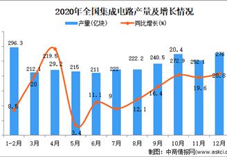 2020年全国各省市集成电路产量排行榜