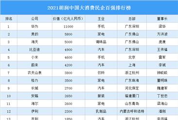 2021胡润中国大消费民企百强排行榜