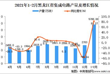2021年1-2月黑龙江省集成电路产量数据统计分析