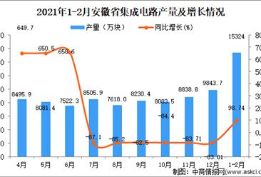 2021年1-2月安徽省集成电路产量数据统计分析