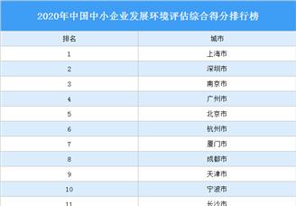 2021年中国中小企业发展环境评估综合得分排行榜