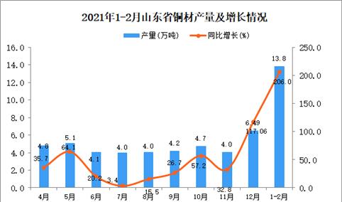 2021年1-2月山东省铜材产量数据统计分析