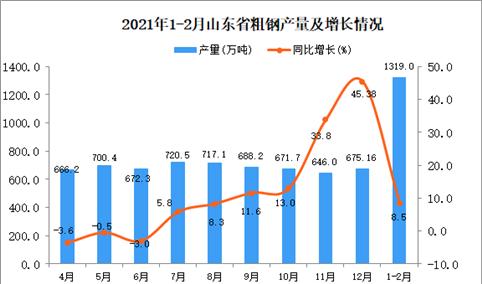 2021年1-2月山东省粗钢产量数据统计分析