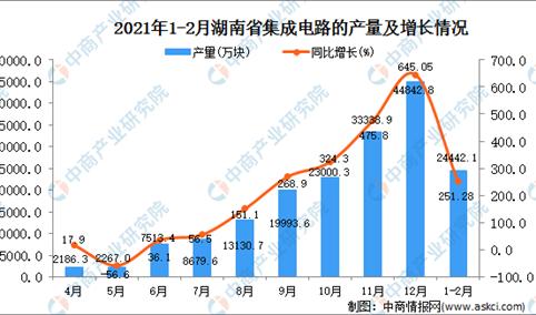 2021年1-2月湖南省集成电路产量数据统计分析