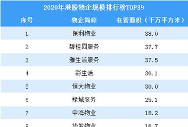2020年港股物业企业规模排行榜TOP39