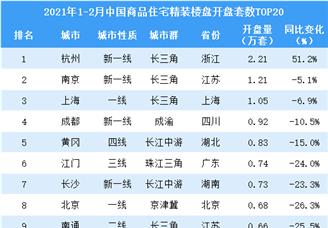 2021年1-2月中国商品住宅精装楼盘开盘数TOP20