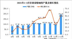 2021年1-2月甘肃省粗钢产量数据统计分析