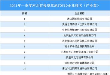产业地产投资情报:2021年一季度河北省投资拿地TOP10企业排名(产业篇)