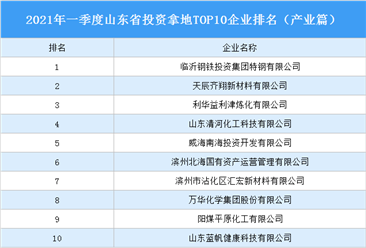 产业地产投资情报:2021年一季度山东省投资拿地TOP10企业排名(产业篇)
