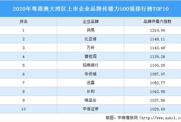 2020年粤港澳大湾区上市企业品牌传播力500强排行榜TOP10