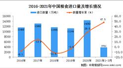 2021年1-3月中国粮食进口数据统计分析