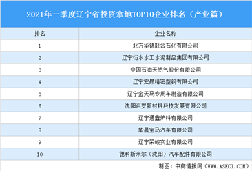 产业地产投资情报:2021年一季度辽宁省投资拿地TOP10企业排名(产业篇)