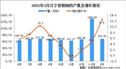 2021年3月辽宁省粗钢产量数据统计分析