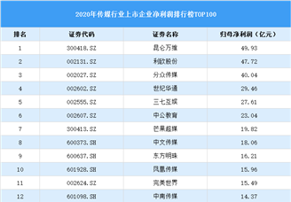 2020年中国传媒行业上市公司净利润排行榜TOP100