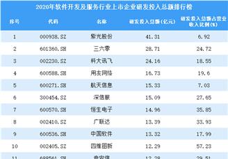 2020年软件开发及服务行业上市企业研发投入总额排行榜(附全榜单)