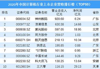 2020年中国计算机行业上市企业营收排行榜(TOP50)