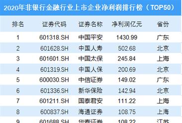2020年非银行金融行业上市企业净利润排行榜TOP50