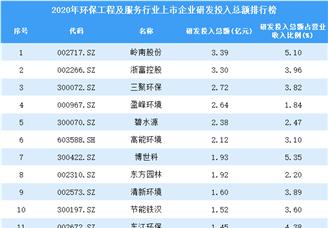 2020年环保工程及服务行业上市企业研发投入总额排行榜(附全榜单)