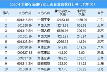 2020年非银行金融行业上市企业营收排行榜TOP50