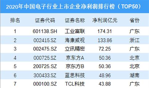 2020年中国电子行业上市企业净利润排行榜TOP50