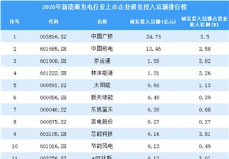 2020年新能源发电行业上市企业研发投入总额排行榜(附全榜单)