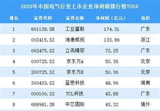 2020年中国电气行业上市企业净利润排行榜TOP50