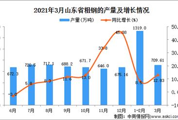 2021年3月山东省粗钢产量数据统计分析
