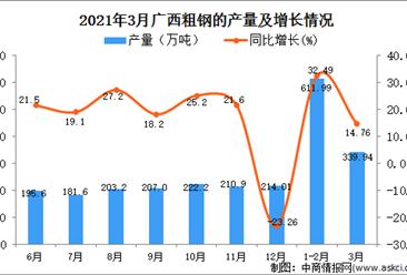 2021年3月广西省粗钢产量数据统计分析
