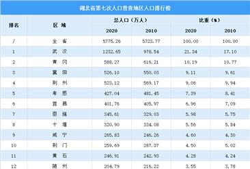 湖北第七次人口普查各市(州)人口排行榜:武汉人口超千万(图)